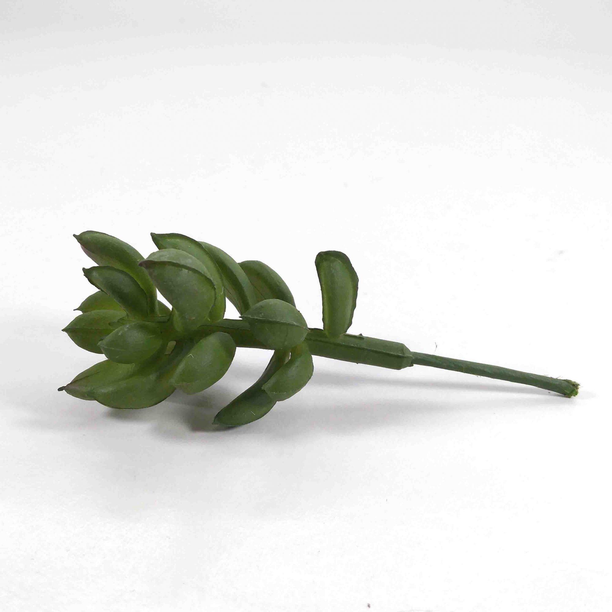 Kit 03x Flor Suculenta Cor Verde Artificial Permanente 8cm