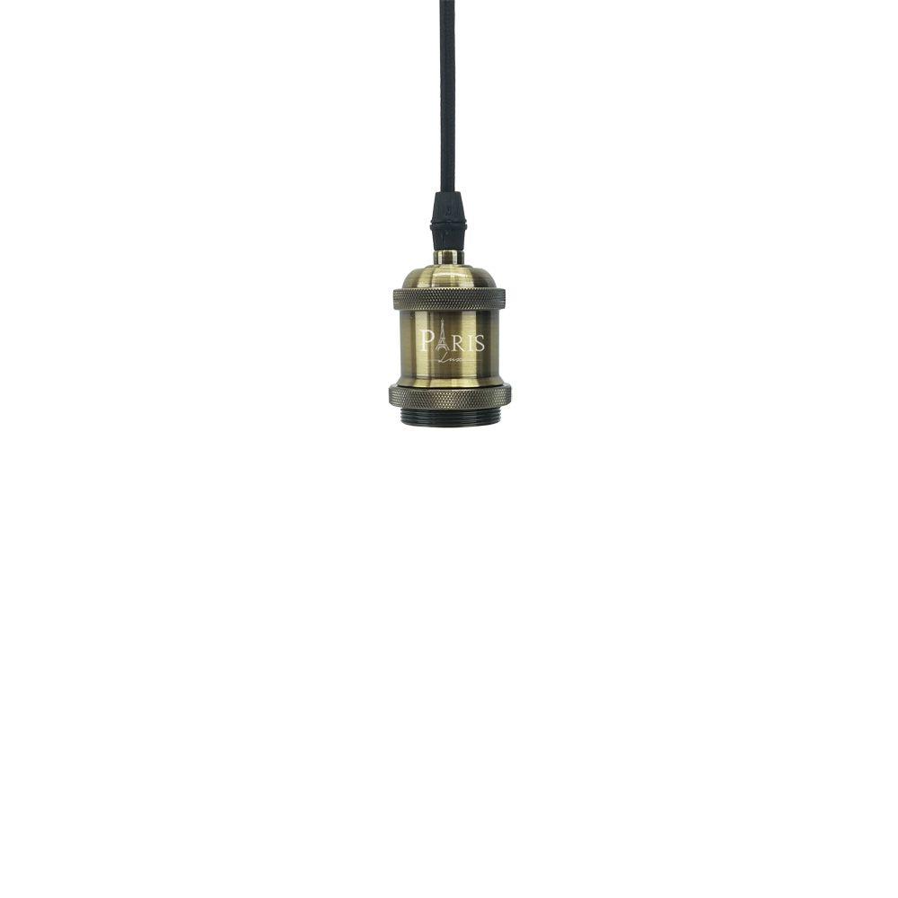Kit 03x Pendente Soquete Bronze 1e27 Vintage Cordão + Lâmpada Filamento LED