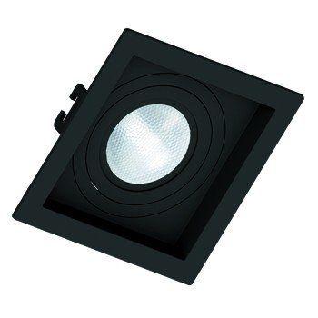 Kit 18x Spot Embutir PAR 20 Quadrado Face Recuada Direcionavel Preto Save Energy