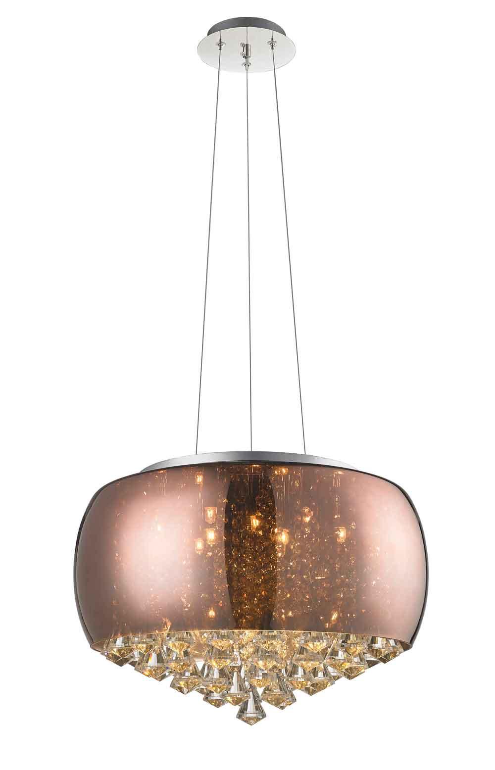 Kit 1x Lustre Plafon Vidro Cristal Bronze 50cm 9G9 + 9x G9 127v 4,5w 3000K