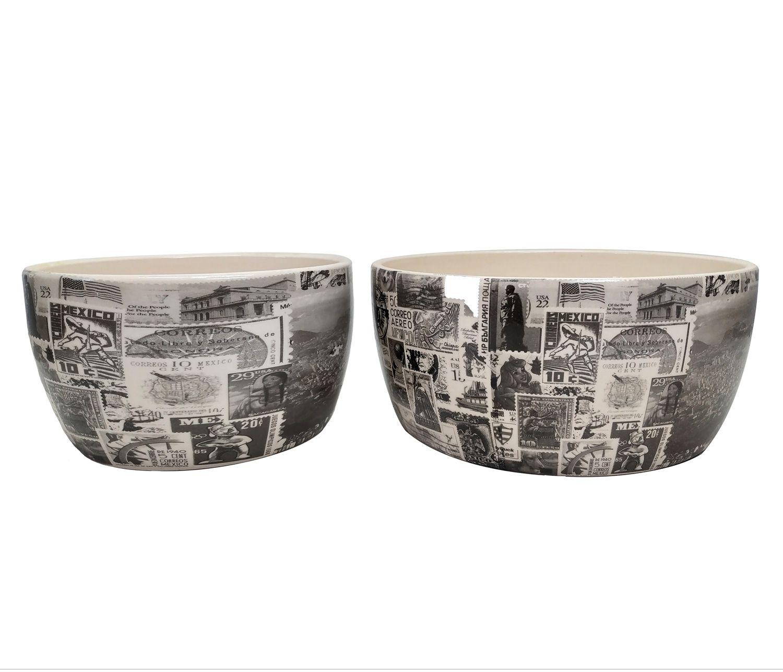 Kit 2 Cachepot Decorativo Cerâmica Bege Estampado TN0036
