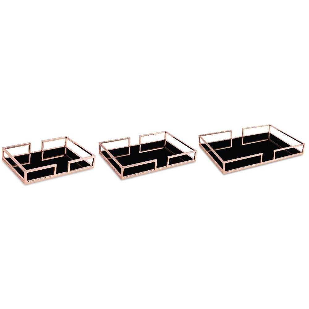 Kit 3 Bandejas Retangular Rose Gold em Metal com Espelho Preto 11183 Mart