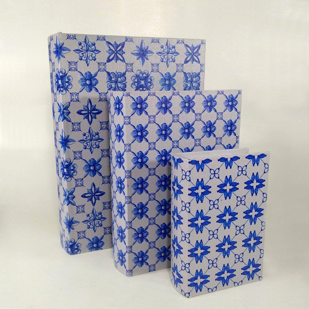 Kit 3 Caixas Livro Decorativa Estampado Em MDF 9169