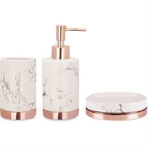 Kit 3 Peças Para Banheiro Cerâmica Branco e Rose Gold 09051 Mart