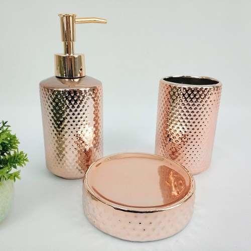 Kit 3 Peças Para Banheiro Rose Gold Em Cerâmica 7788 Mart Collection