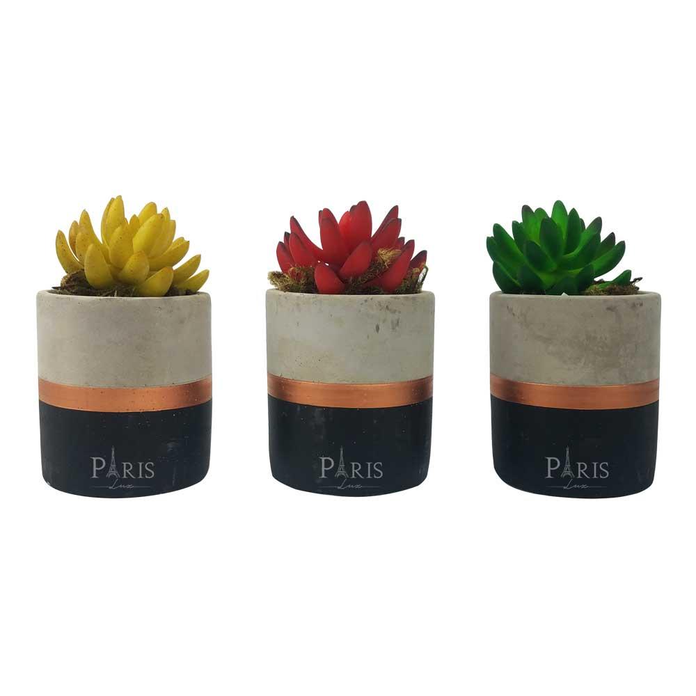 Kit 3 Vasos Cimento Preto/Cobre + Suculentas Coloridas