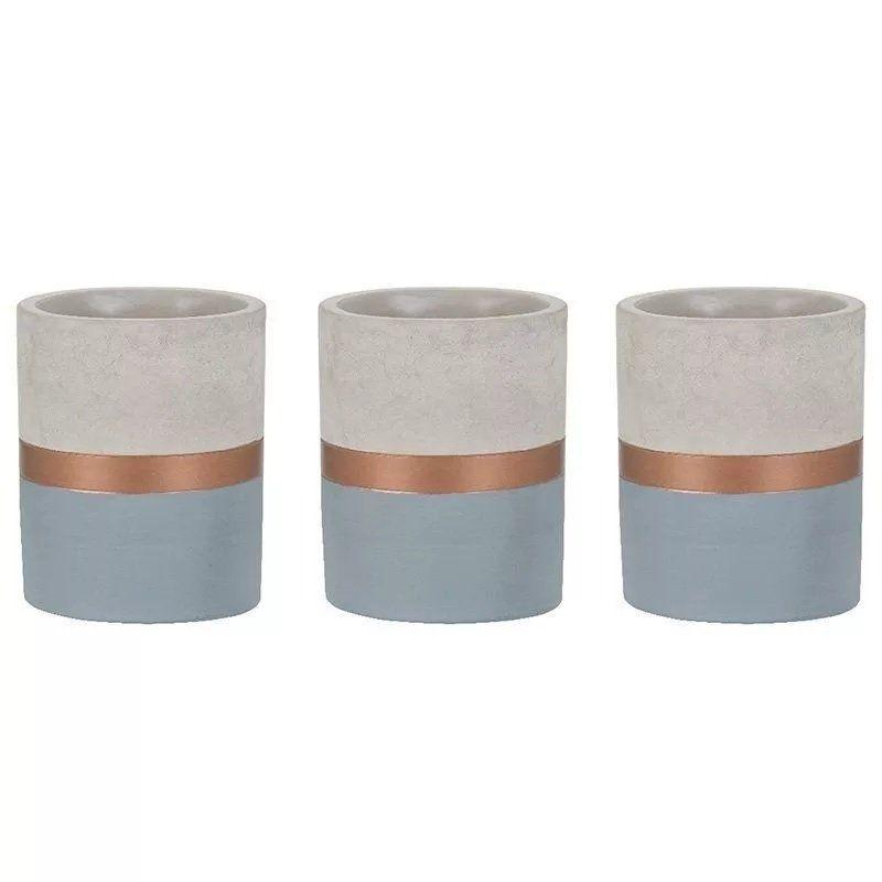 Kit 3 Vasos Decorativo De Cimento Azul/Cobre 10X13CM 7705