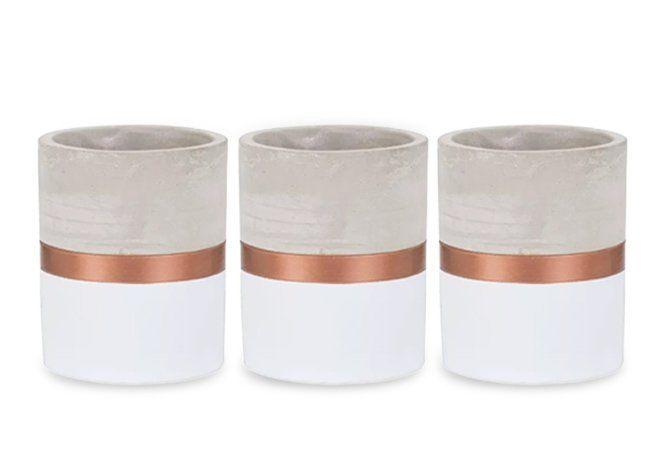 Kit 3 Vasos Decorativo De Cimento Branco/Cobre 10X13CM 7693