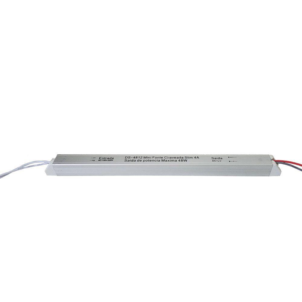 Kit 3x Fita LED 4000K 4,8W/M + 2x Fonte 12V Slim 4A