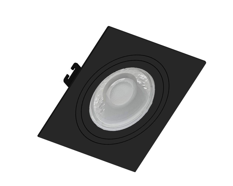Kit 3x Spot Dicroica Face Plana Preto + 3x Dicroica 7w 2700K Save Energy