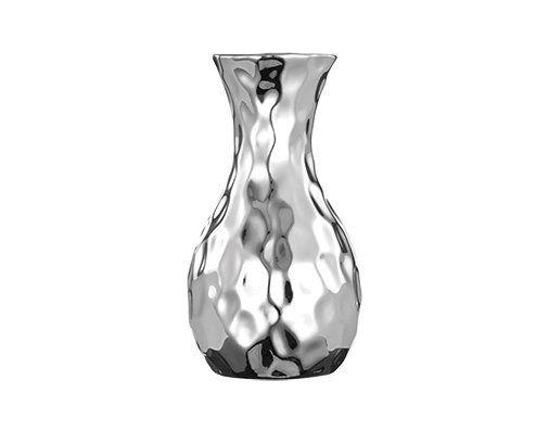 Kit Flor Suculenta Verde/Vermelha 8CM + Vaso Cerâmica Prata 11CM