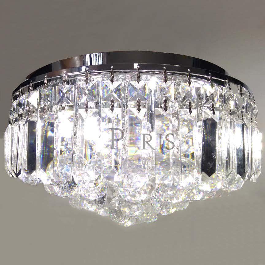 Kit Plafon Kri Hu1103 Transparente 5g9 40cm + Lâmpadas LED