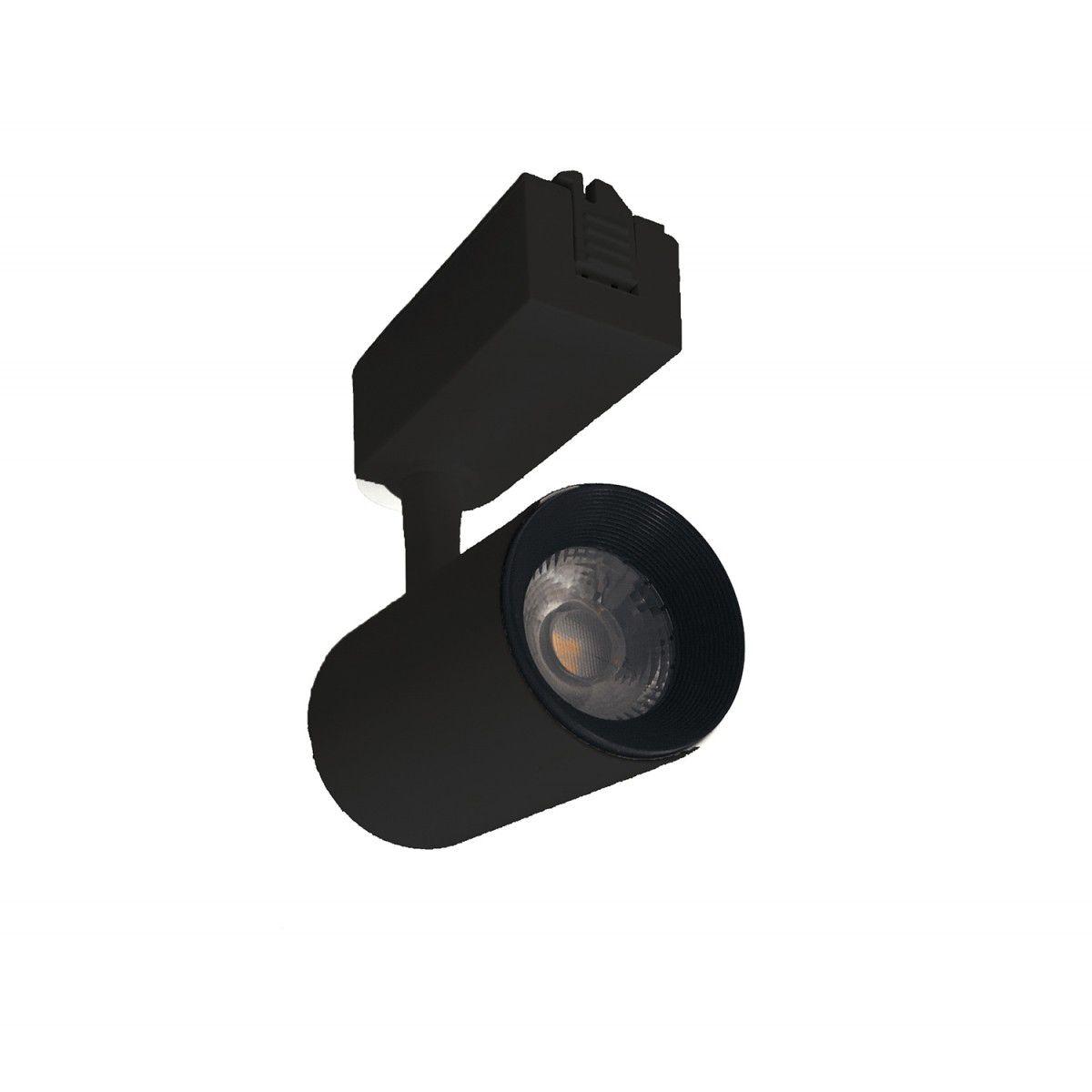 Kit Trilho Eletrificado 1M Preto + 3x Spots LED Preto 7W 3000K
