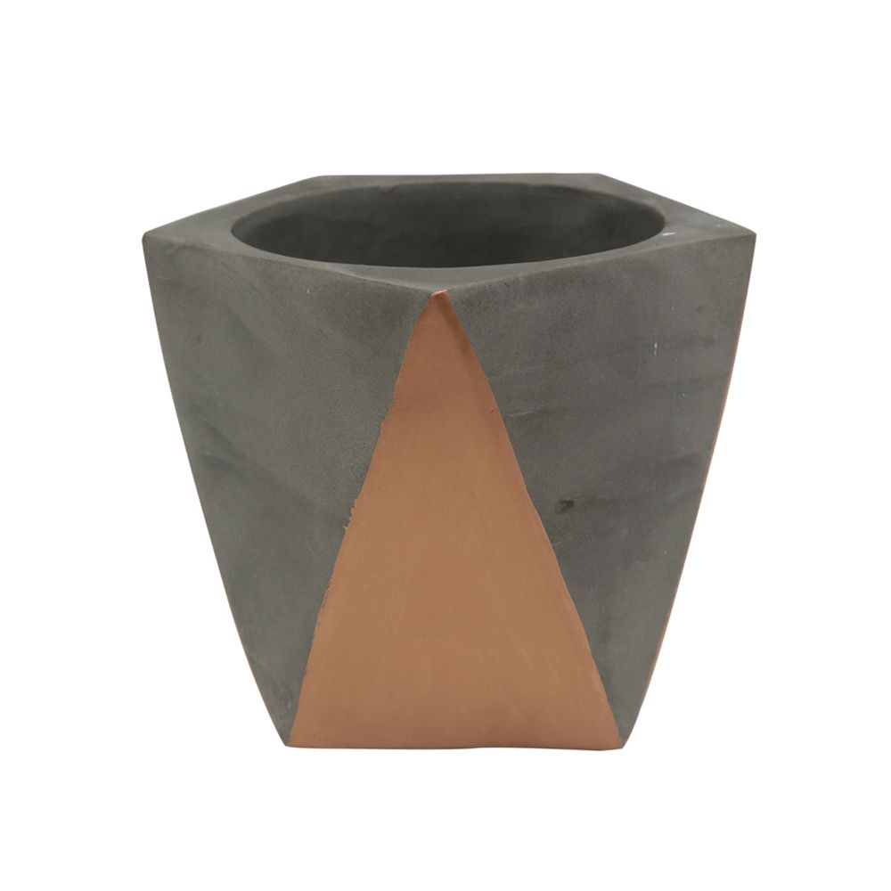 Kit Vaso/Cachepot Cimento Cinza + Suculentas