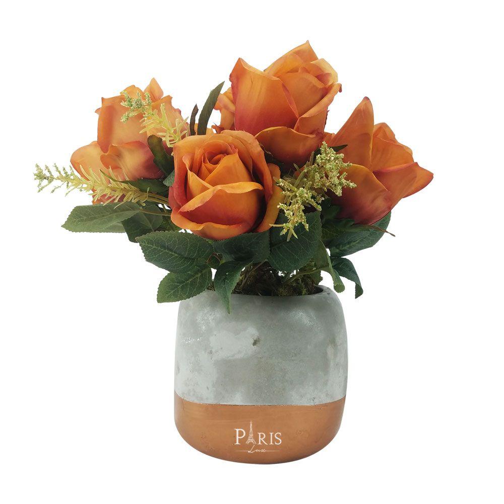 Kit Vaso Cimento Cobre + Flor Rosa Outono