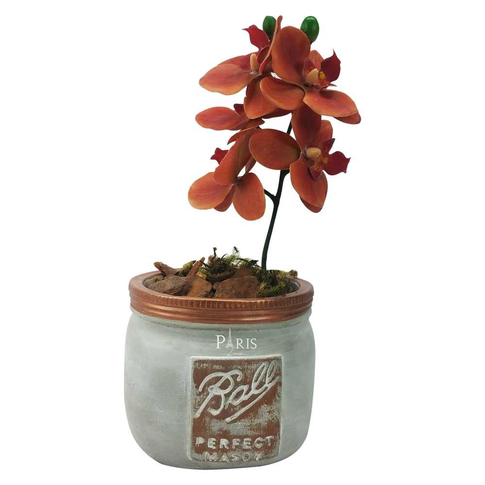 Kit Vaso Cimento Detalhe Cobre + Orquídea 37cm