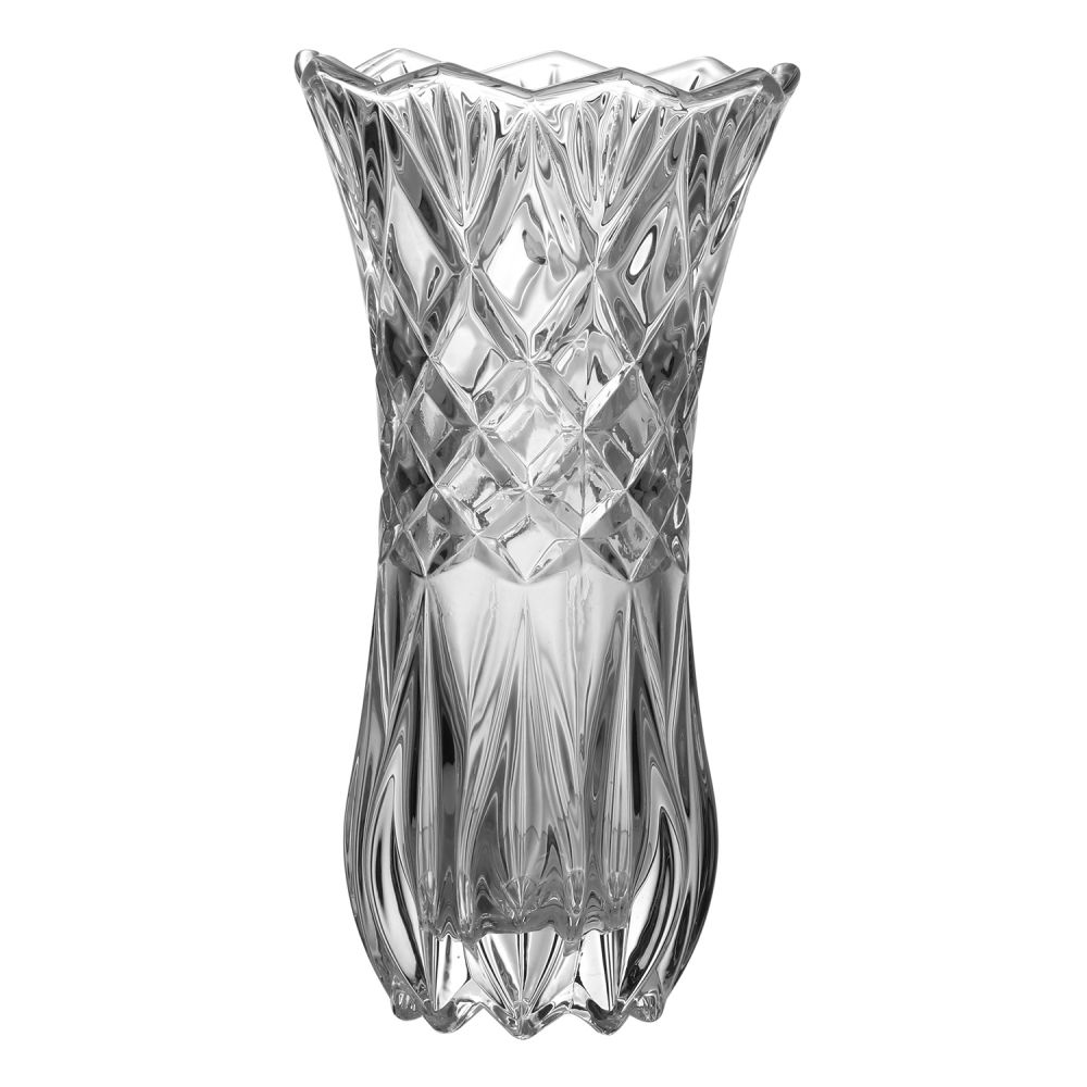 Kit Vaso Decorativo Vidro 19cm + Flor Orquídea Laranja