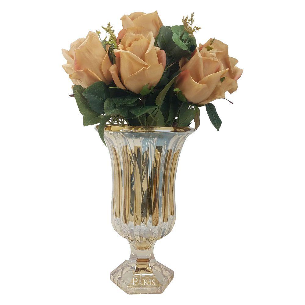 Kit Vaso Decorativo Vidro Âmbar + Flor Rosa Mauve