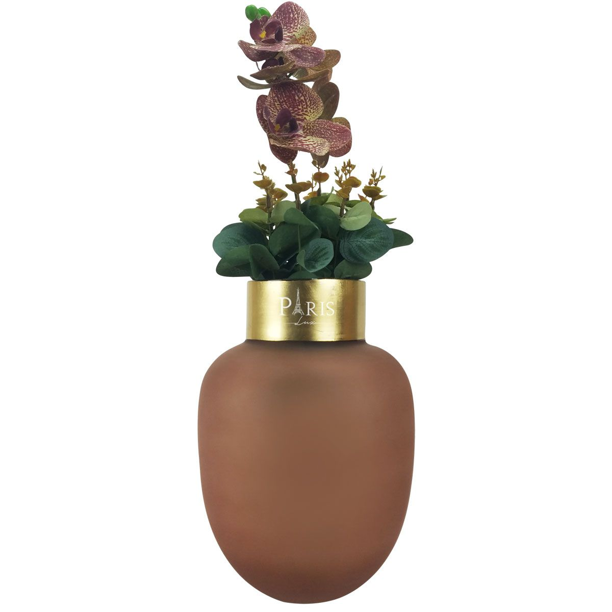 Kit Vaso Vidro Rosa 25cm +  Orquídea Phalaenopsis Cor Beauty