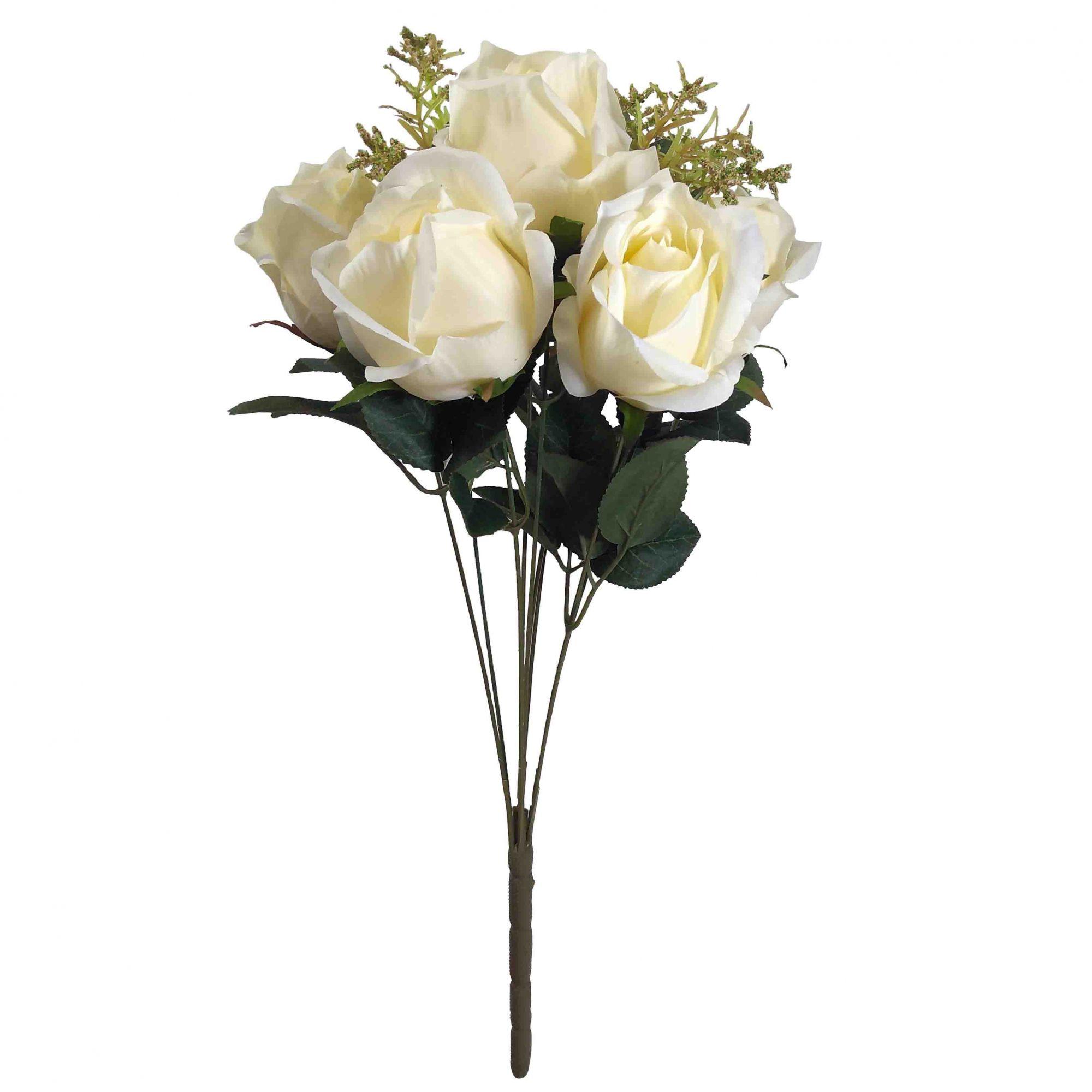 KIt Vaso Vidro Rosa 25CM + Flor Rosa Creme