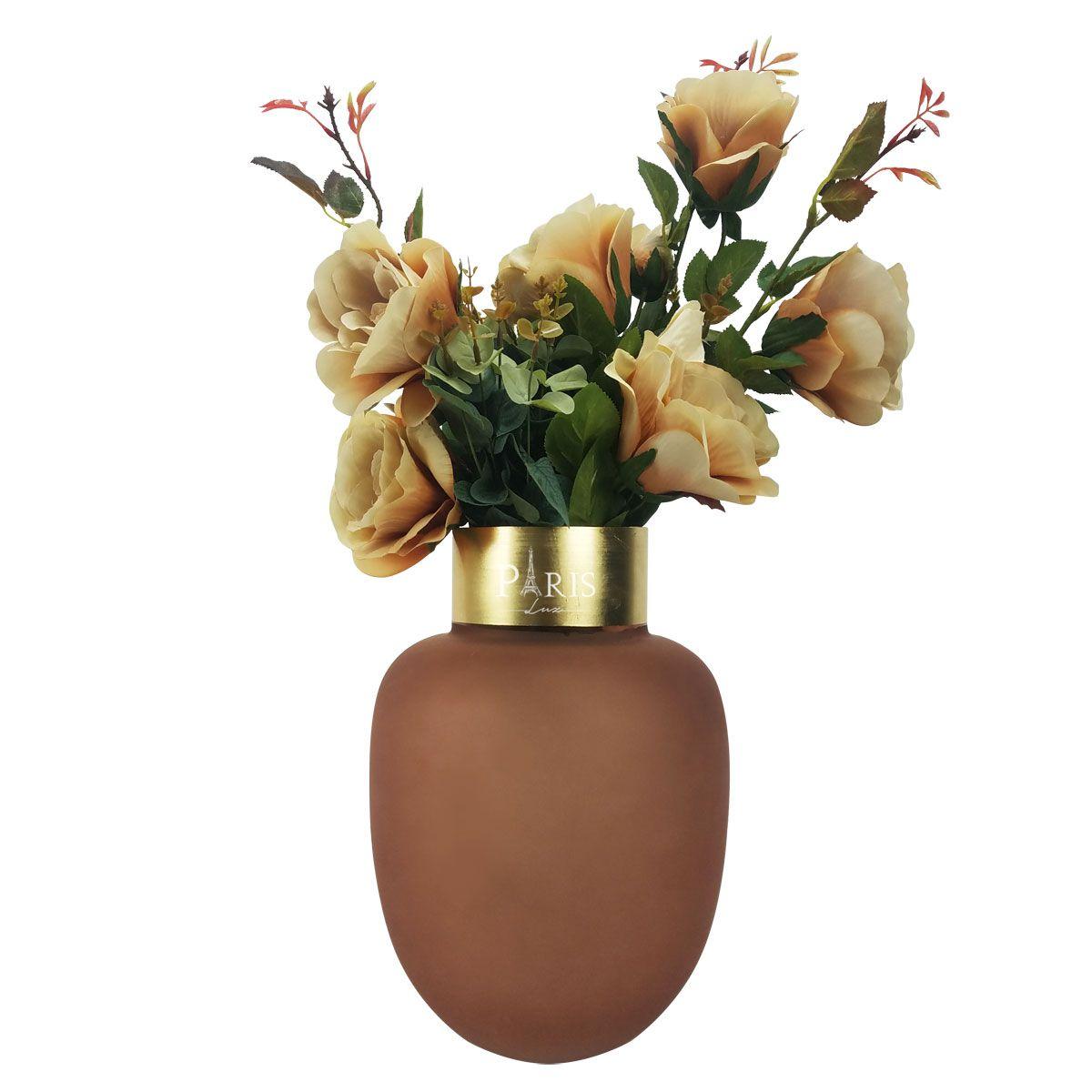 Kit Vaso Vidro Rosa 30 + Flores Artificiais