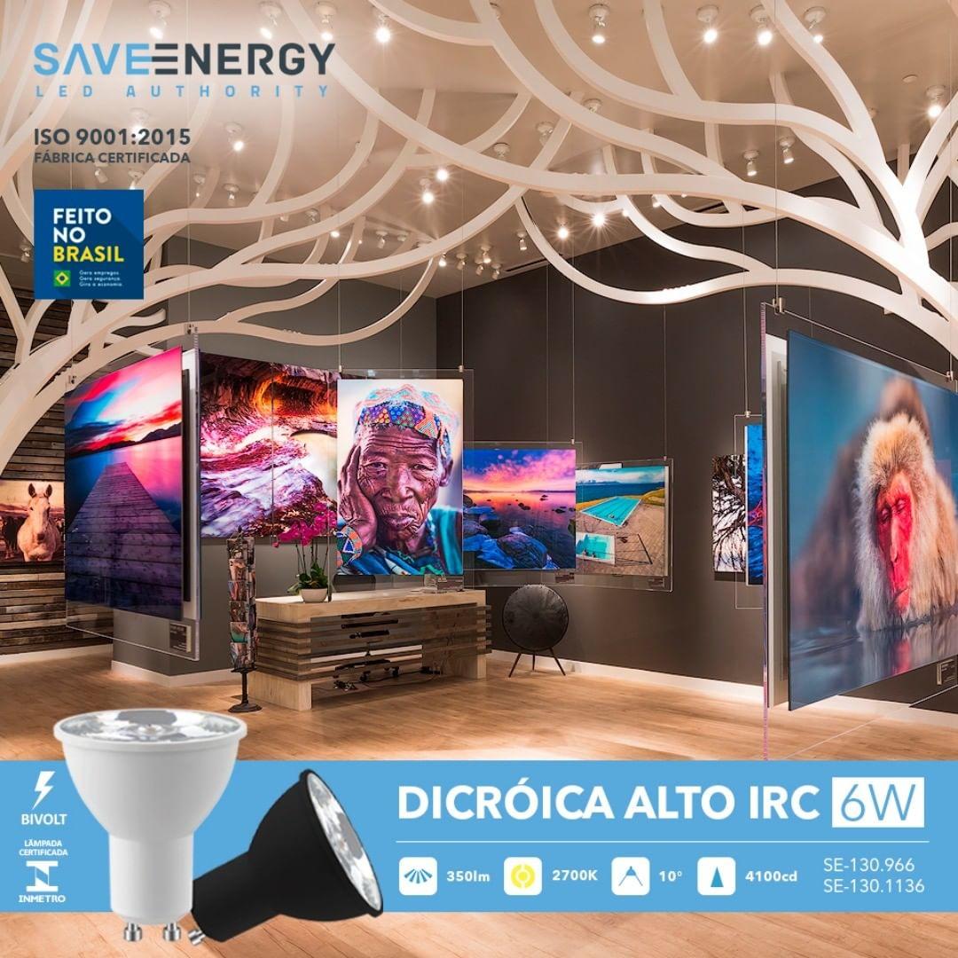 Lâmpada Dicroica Led Alto IRC 6W 2700K Bivolt Preto GU10 Save Energy