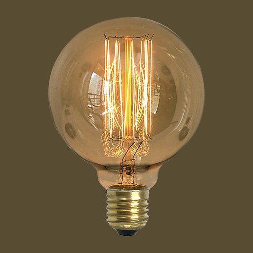 Lâmpada Filamento de Carbono G95 40W E27 127V Retro Vintage