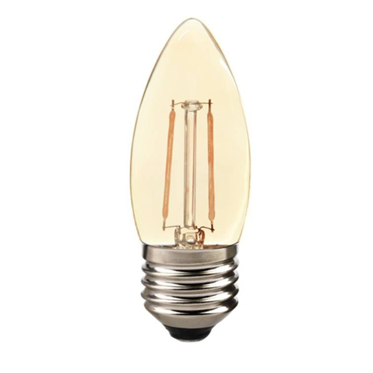 Lâmpada LED Filamento Vela Lisa 2W E27 Âmbar