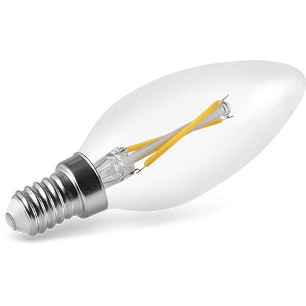 Lâmpada Vela Led E14 2W 2400K Filamento Bico Liso Transparente 220V Save Energy