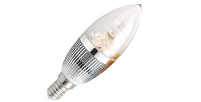 LAMPADA VELA SUPER LED 3W E-14 3000K TRANSPARENTE BICO RETO