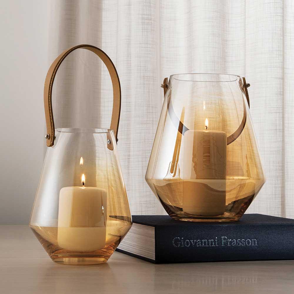 Lanterna para Vela Vidro Champanhe 21,5cm com Alça em Couro 09416 Mart