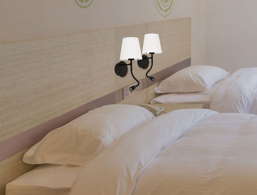 Luminária Arandela Cozy Articulável Preta 1E27 + LED 2W 3000K 30CM Quality QAR1337PT
