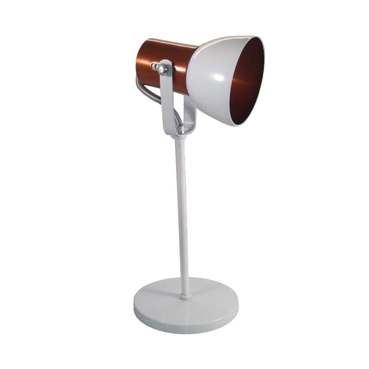 Luminária de Mesa Abajur Branco/Cobre 1E27 LM110/BC-CO Kin Light