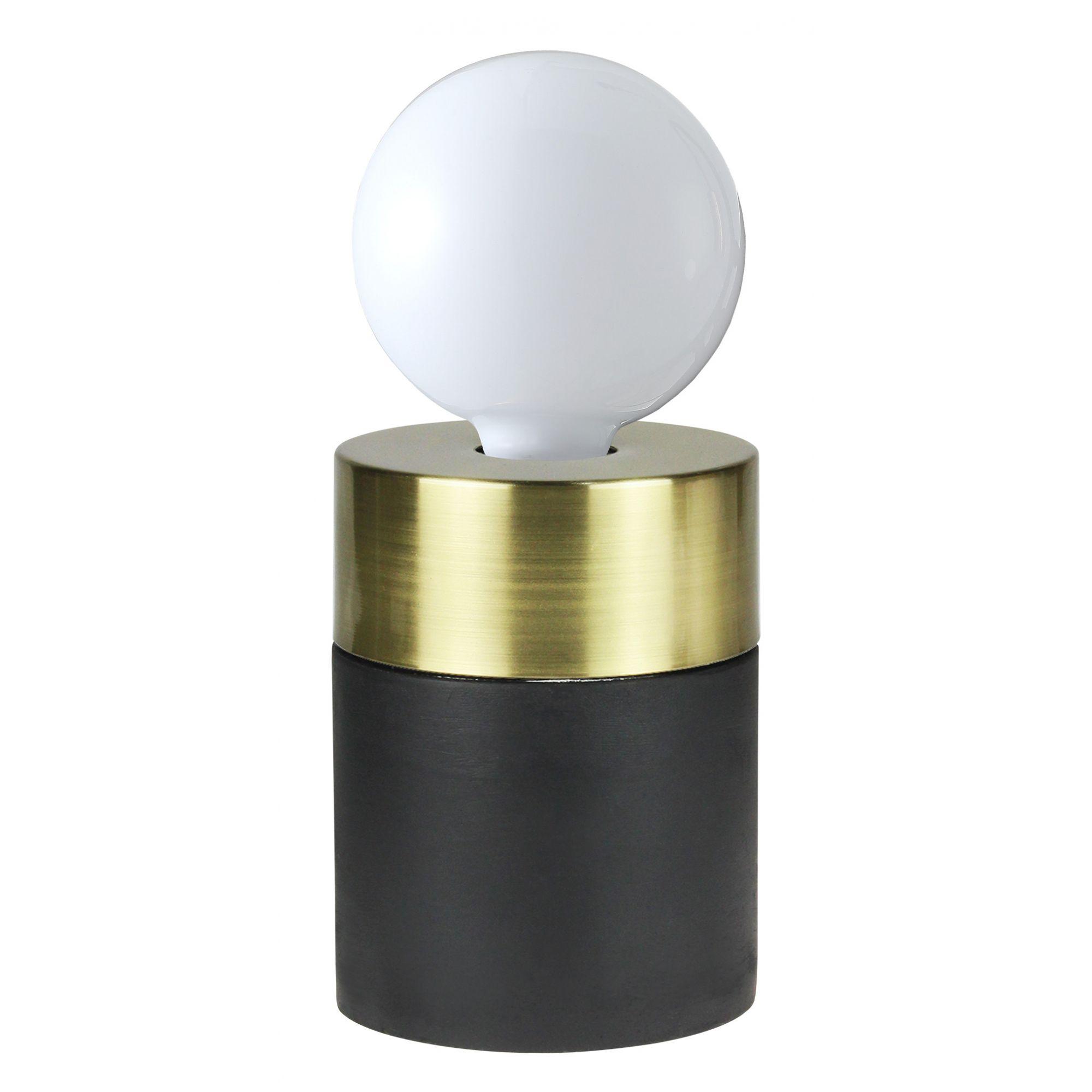Luminaria De Mesa Abajur Concreto Preto/Dourado1E27 12CM Quality QAB1375DO
