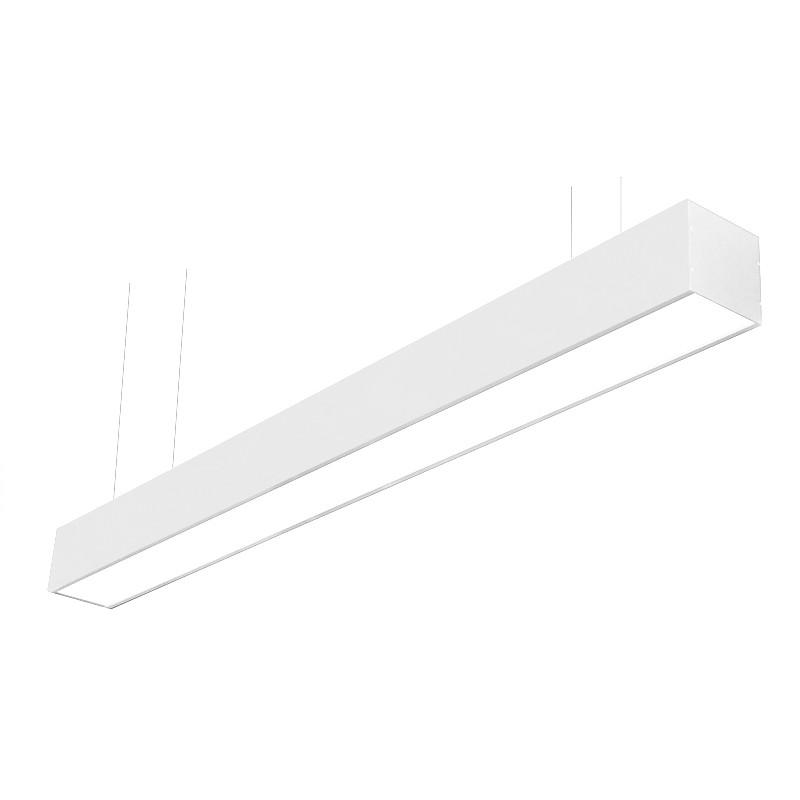 Luminária Pendente Office Em Alumínio Branco 63cm 2 Lâmpadas Tubulares