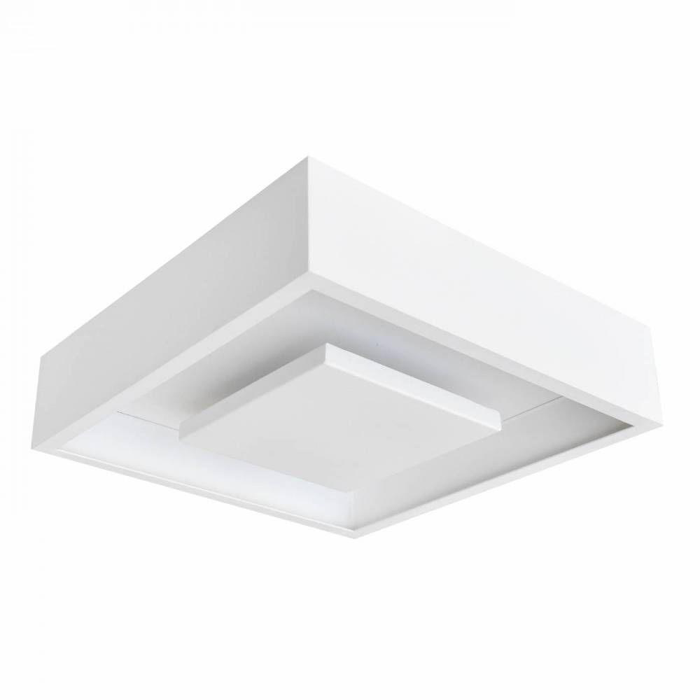 Lumin Ria Plafon Luz Indireta Sobrepor Quadrado 35cm Led 24w Dl082ww
