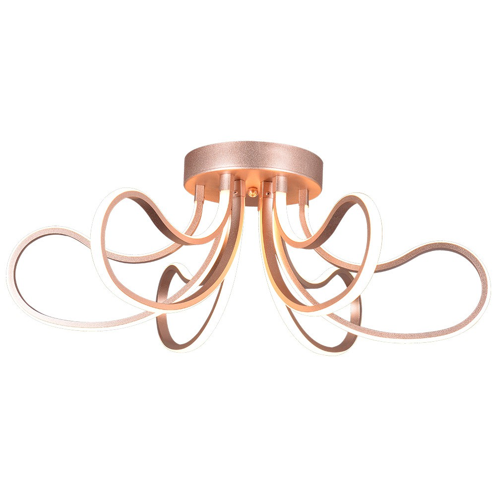 Luminária Plafon Sobrepor Rose Gold LED 90W 3000K 60cm EB013 Luciin