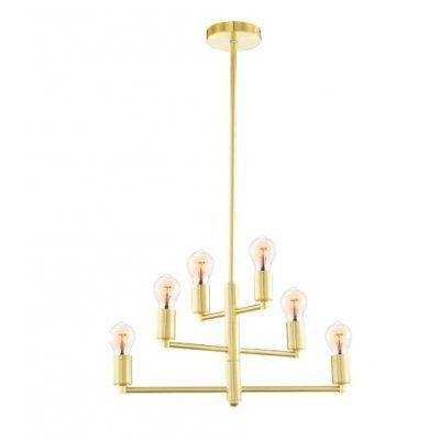Lustre Pendente Em Metal Dourado 6E27 6634