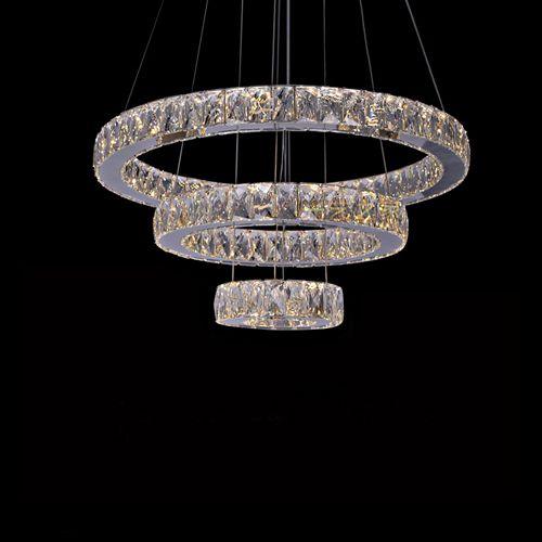 Lustre Pendente Cristal K9 Led 3 Anéis Rings C/ Controle Remoto