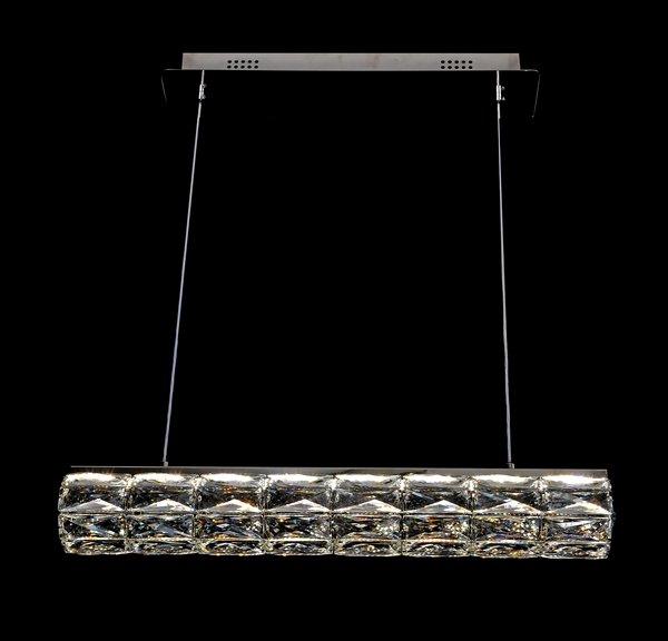 Lustre Pendente Cristal Retangular 62cm 40W Com Controle Remoto Bivolt