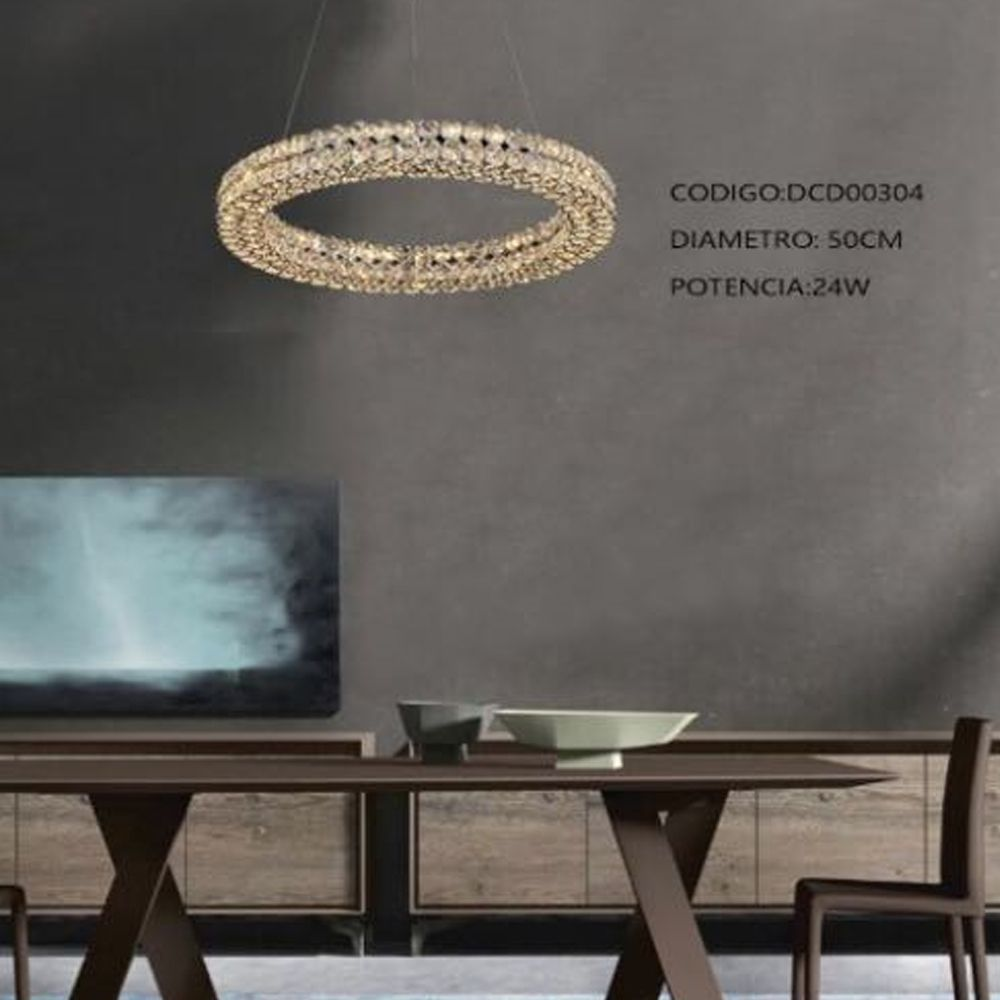Lustre Pendente Anel Ring Cristal 50CM LED 24W 3000K Bivolt