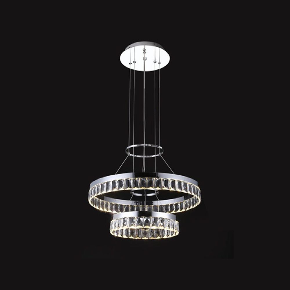 Lustre Pendente Aneis Rings Cristal 30/50CM LED 35W 3000K Bivolt