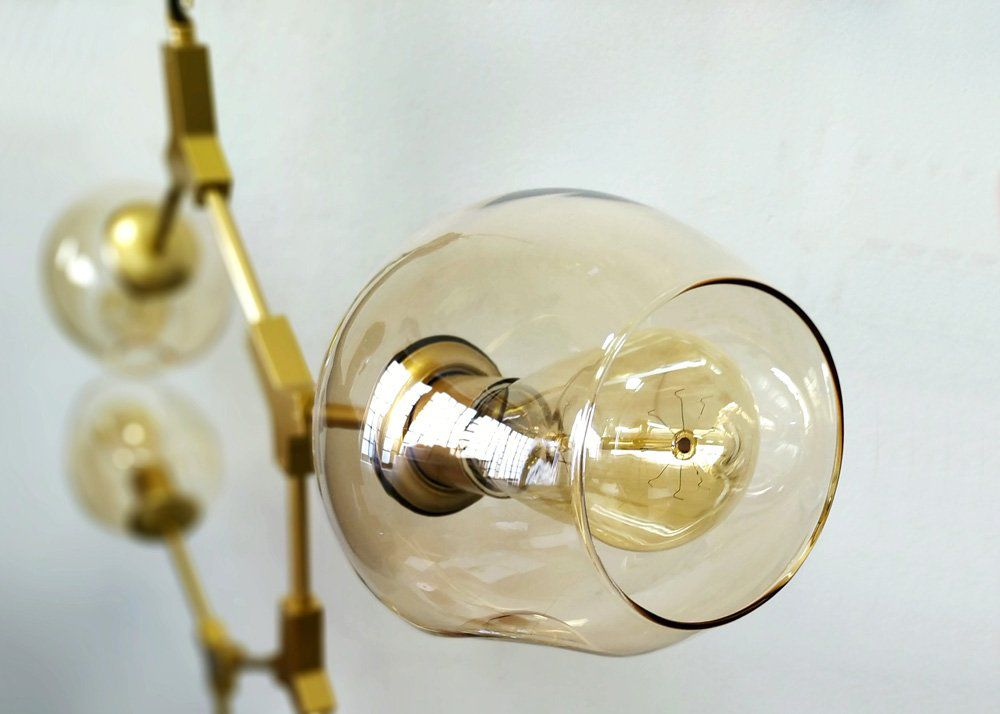 Lustre Pendente Orbe Dourado Moderno 5 Lâmpadas E27 KY001SG BELLA