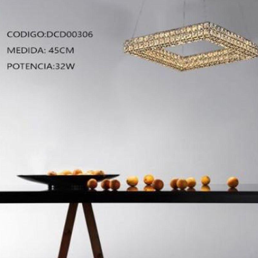 Lustre Pendente Cristal Quadrado 45CM LED 32W 3000K Bivolt