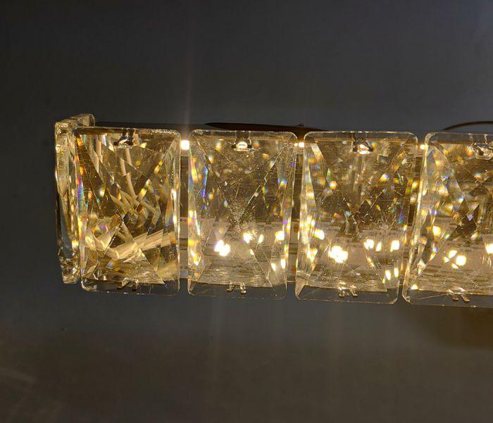 Lustre Pendente Retangular Cristal LED 60W 6000K Bivolt Paris Luz