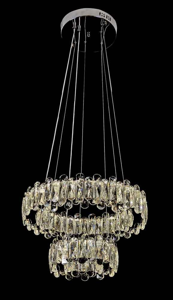 Lustre Pendente Rings Cristal 2 Anéis LED 44W 20/40cm C/ Controle Remoto