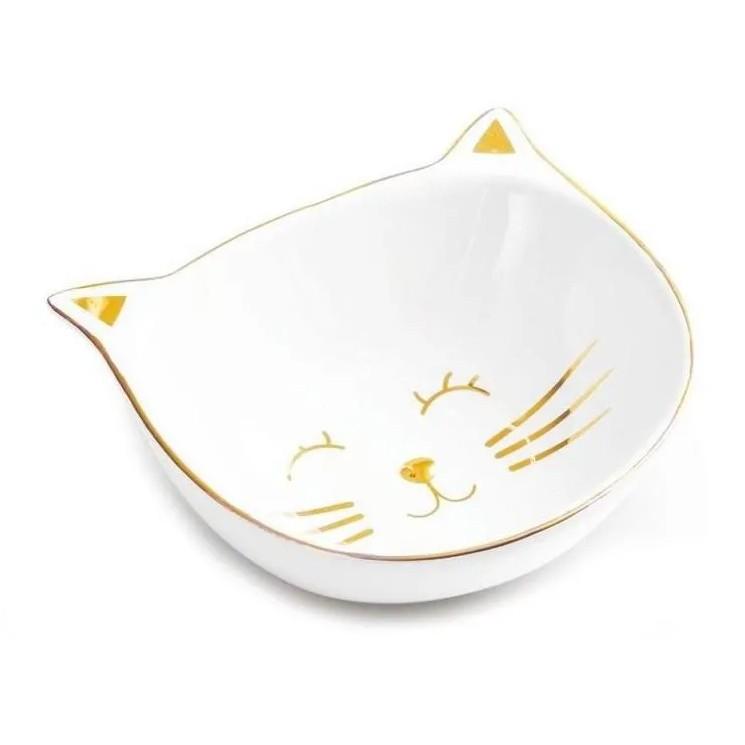 Mini Prato Gato Cerâmica Decorativo Branco/Dourado 13CM 08698