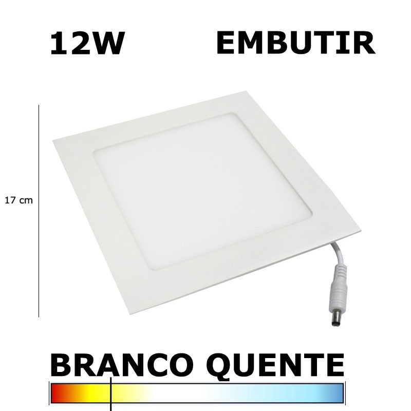PAINEL PLAFON LED 12W 17CM EMBUTIR QUADRADO 3000K