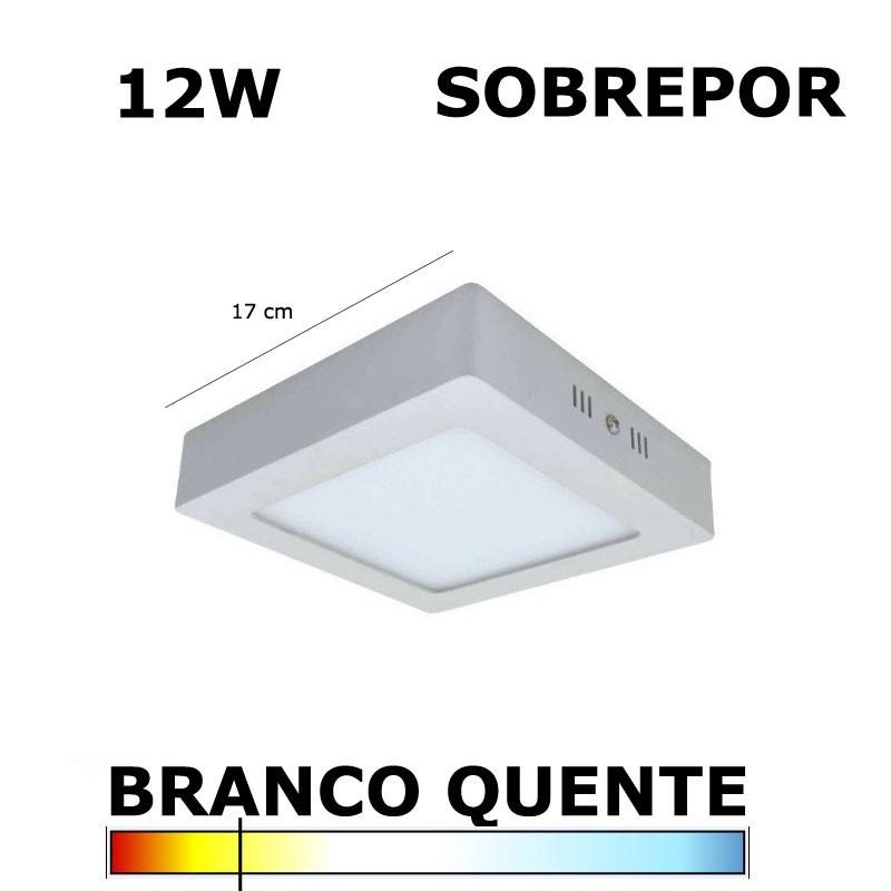 Painel Plafon LED 12W 17CM Sobrepor Quadrado 3000K EmbuLED