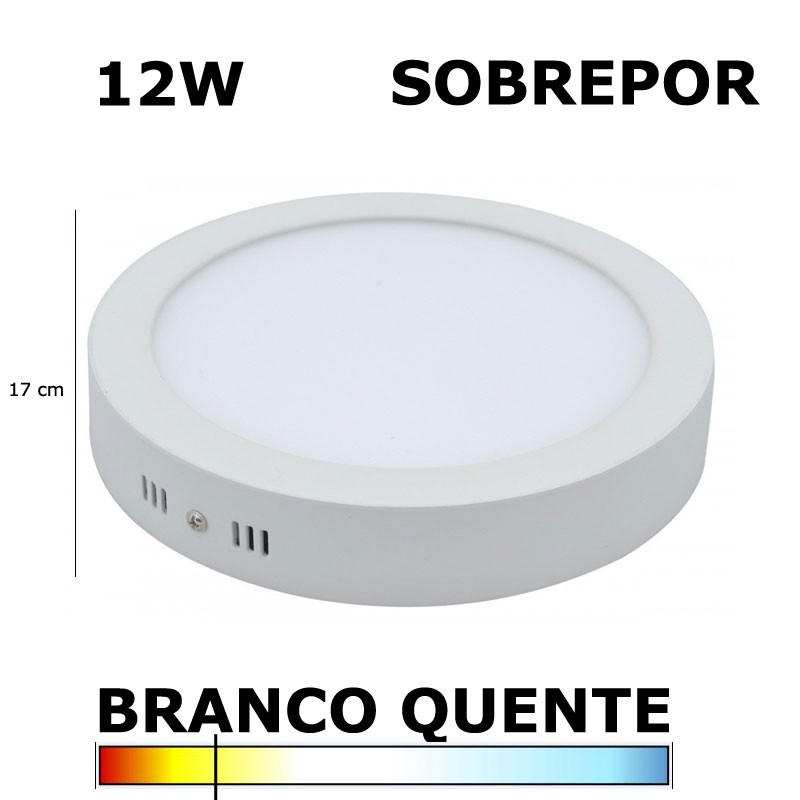 PAINEL PLAFON LED 12W 17CM SOBREPOR REDONDO 3000K EVOLED
